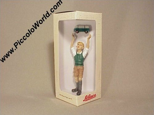 Schuco Piccolo Schoolboy Statue with VW Window Bus